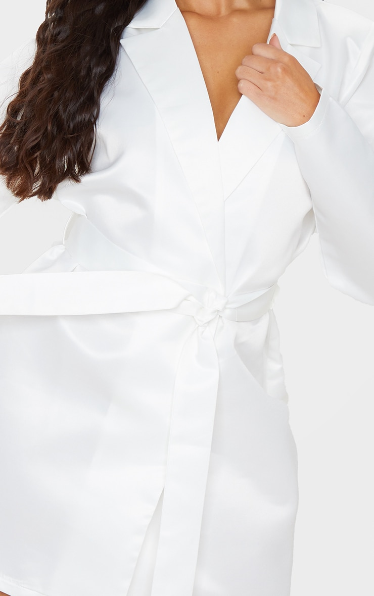 White Matte Satin Long Sleeve Tie Detail Blazer Dress 5
