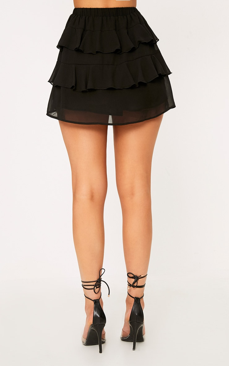 Poppey Black Ruffle Mini Skirt 4