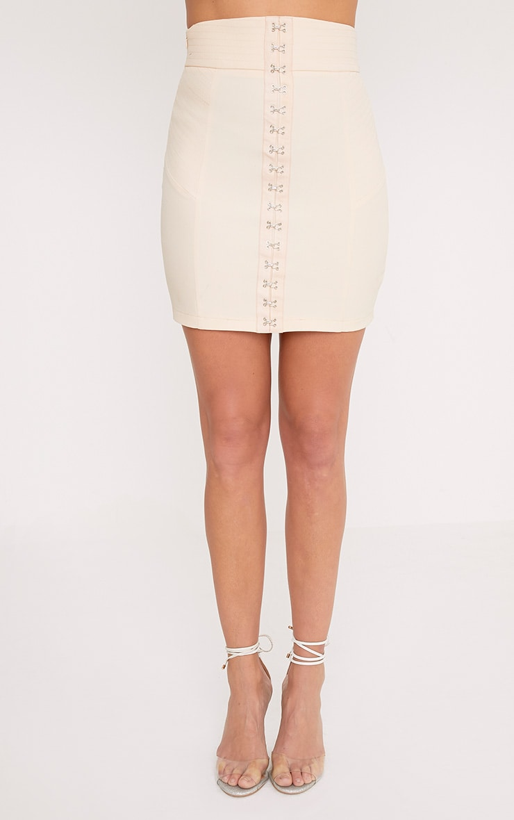 Nichola Beige High Waisted Corset Mini Skirt 2