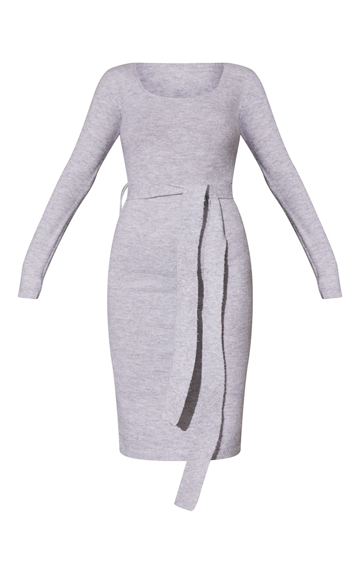 Light Grey Recycled Belted Square Neck Knitted Midi Dress 5