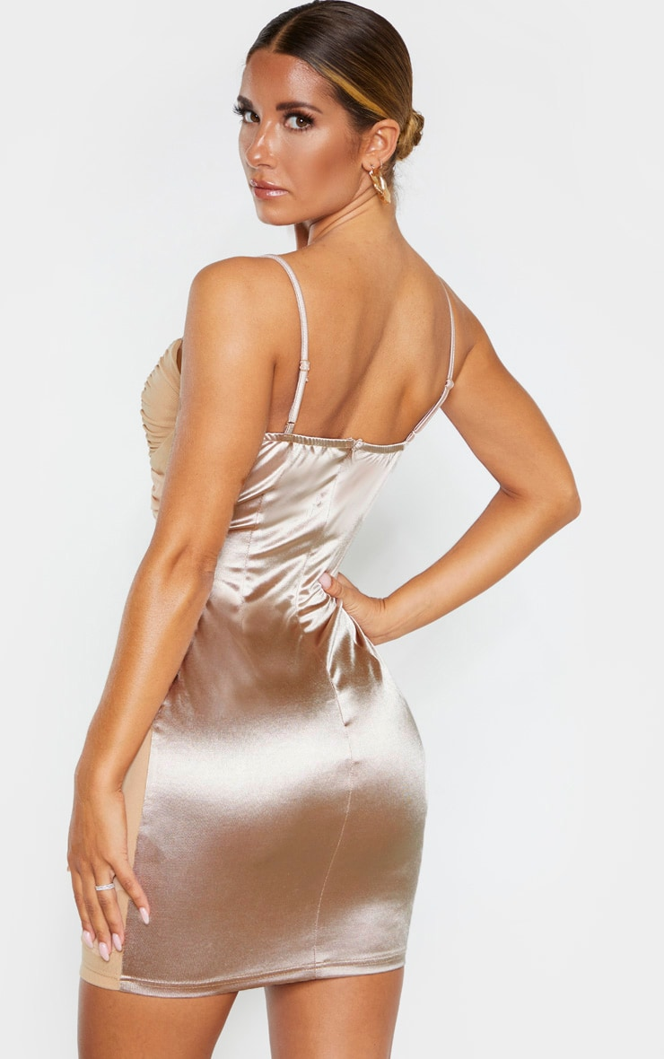 Champagne Satin Mesh Ruched Bodycon Dress 2