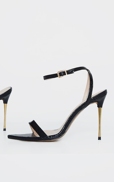 Black Snake Pin Heel Pointed Toe Barely There Strappy Sandal