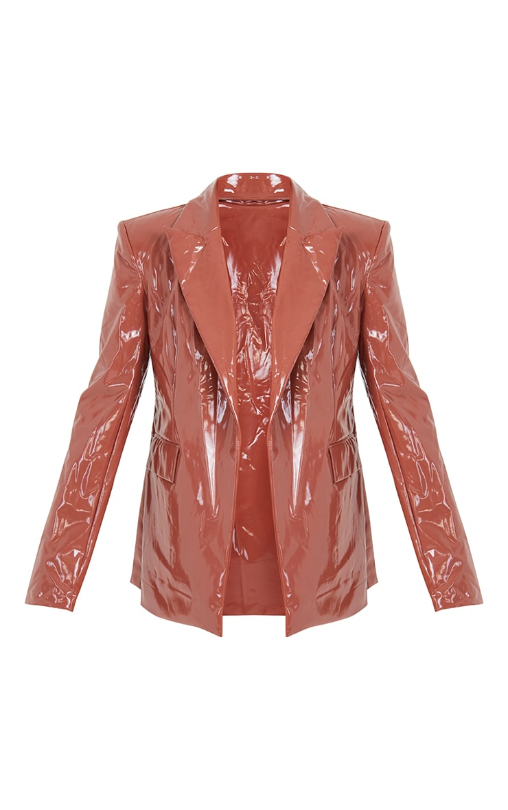 Chocolate Vinyl Super Shoulder Pad Blazer 5