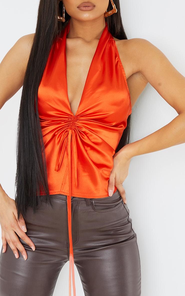 Hot Orange Satin Ruched Front Halterneck Long Top 4