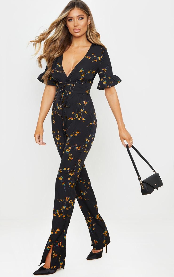 Black Floral Print Corset Frill Sleeve Jumpsuit 1
