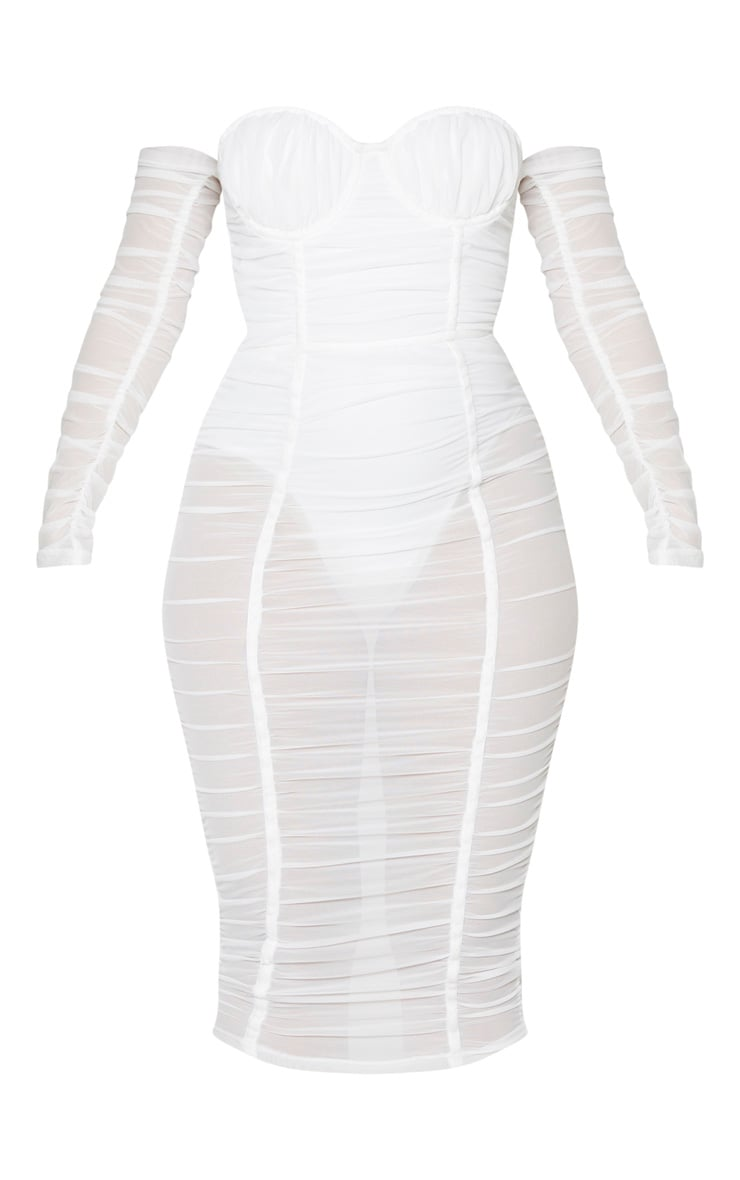 White Mesh Ruched Velvet Binded Bardot Midi Dress 3
