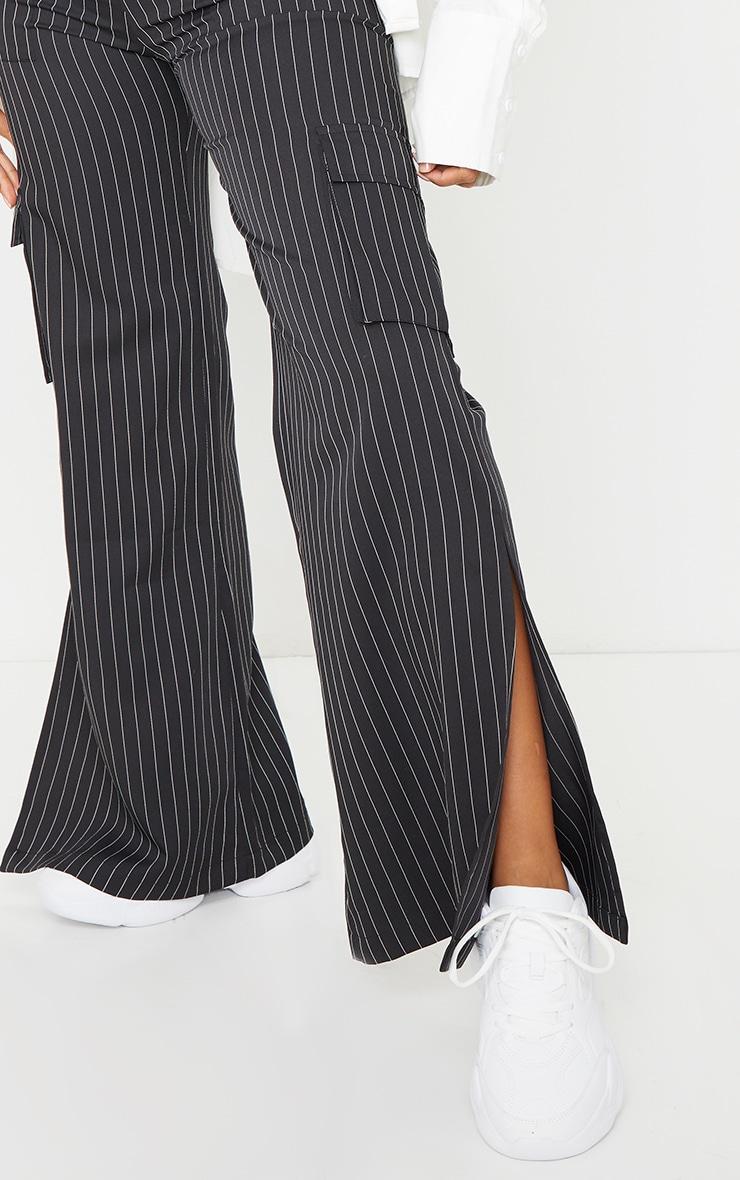 Black Pinstripe Wide Leg Pocket Detail Trousers 4