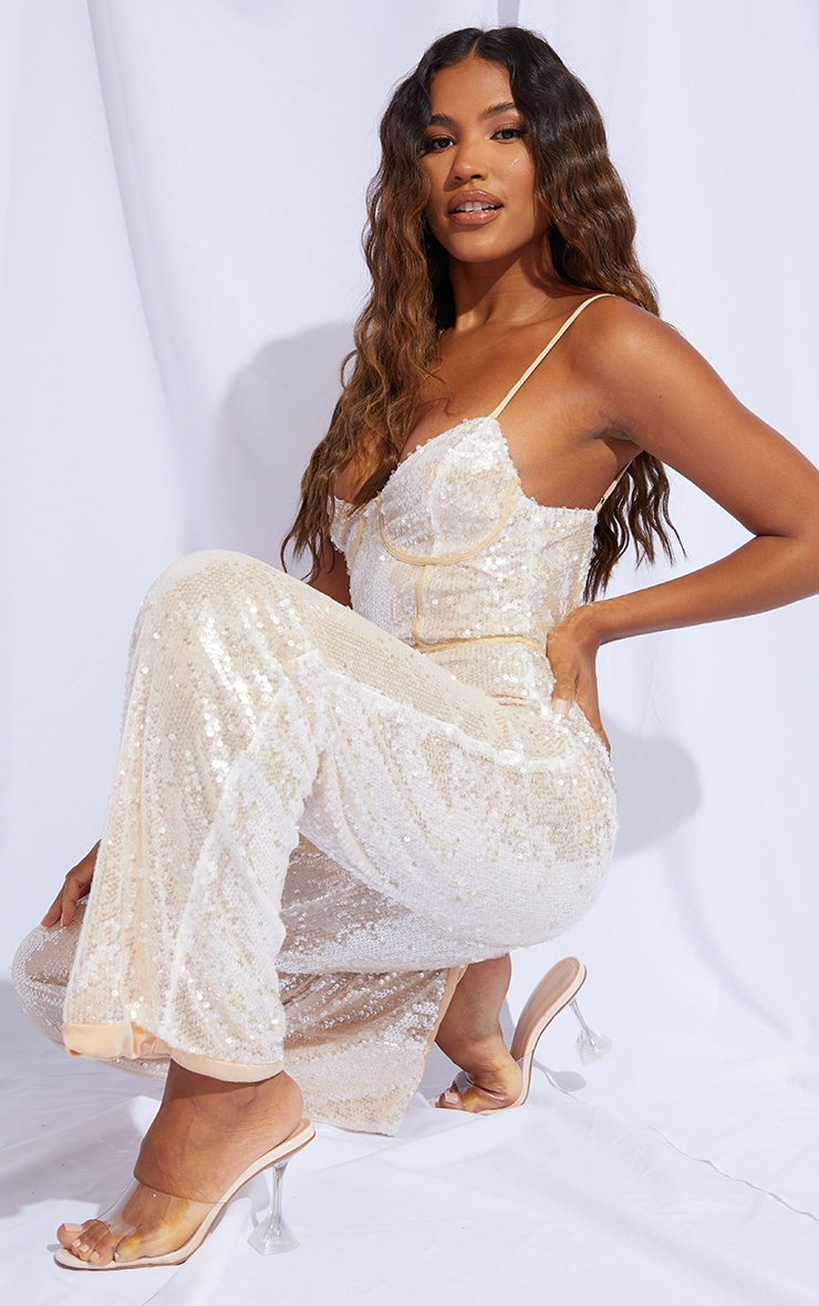 Premium Champagne Sequin Binding Detail Strappy Jumpsuit 3