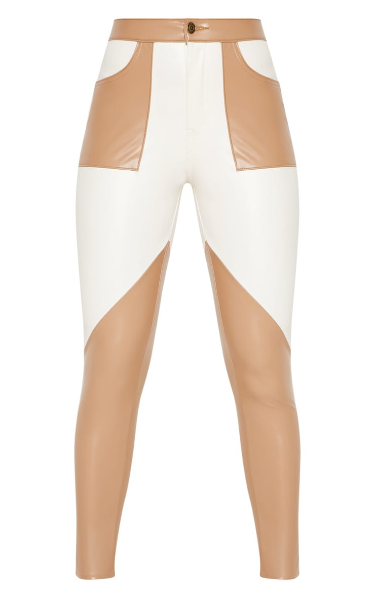 Taupe Faux Leather Colour Block Trouser 3