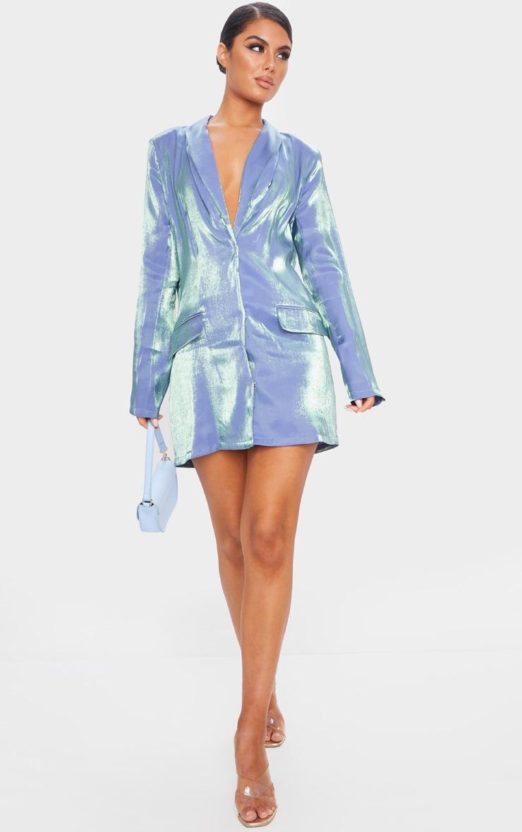 Robe blazer bleue irisée à manches longues 3