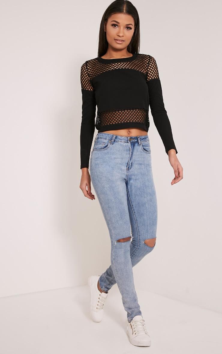 Justina Black Fishnet Panel Sweatshirt 5