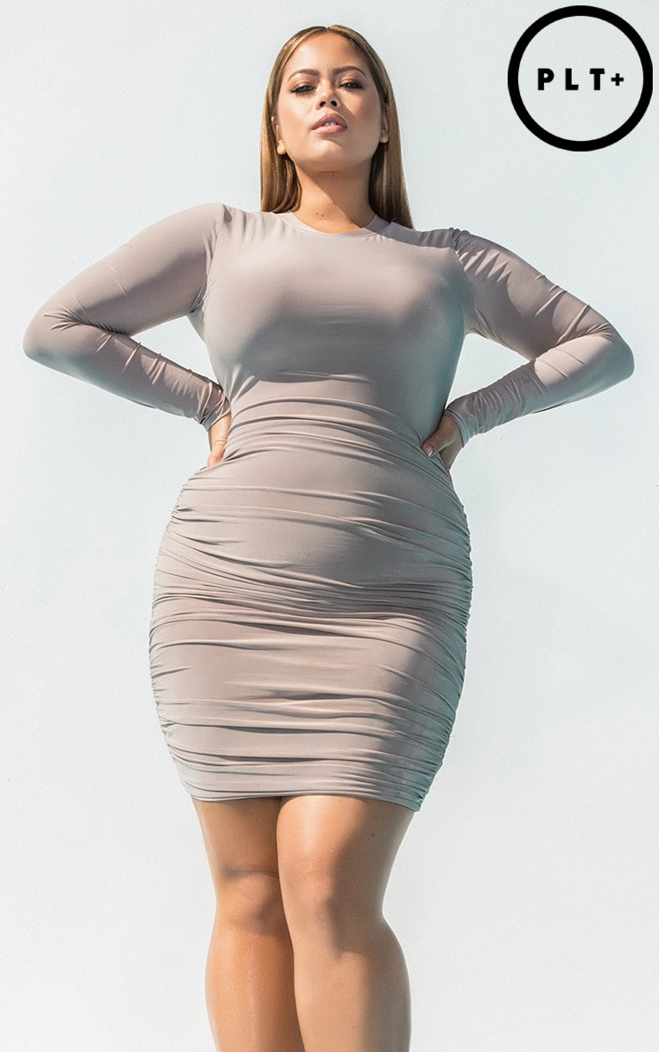 Plus Taupe Second Skin Long Sleeve Ruched Contrast Stitch Bodycon Dress Pretty Little Thing fnYi8xm1lk
