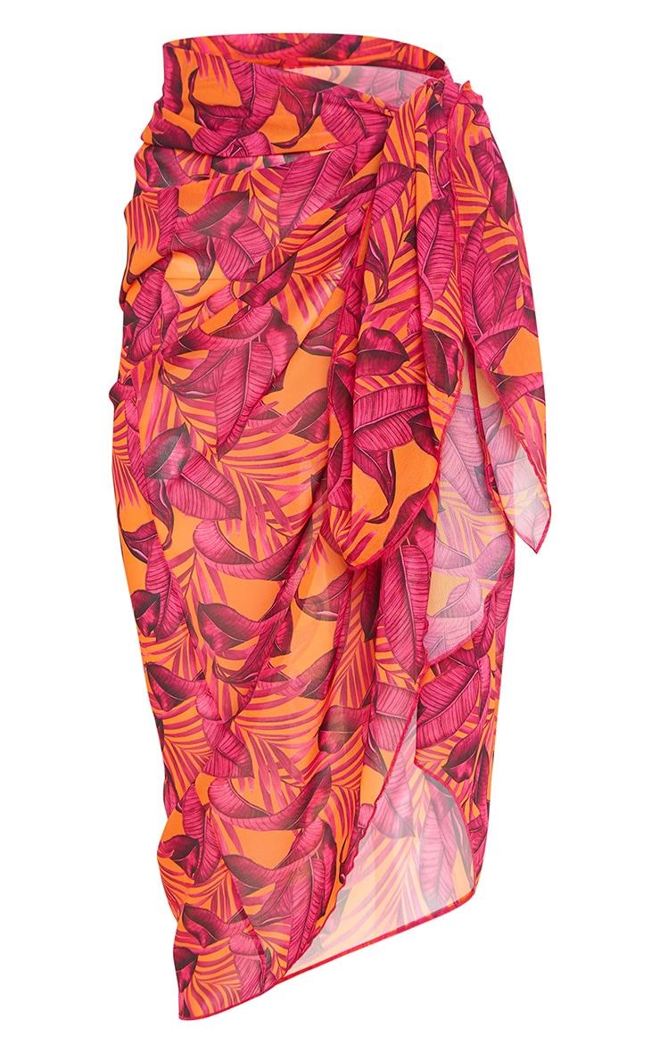 Orange Palm Leaf Midi Tie Waist Sarong 6
