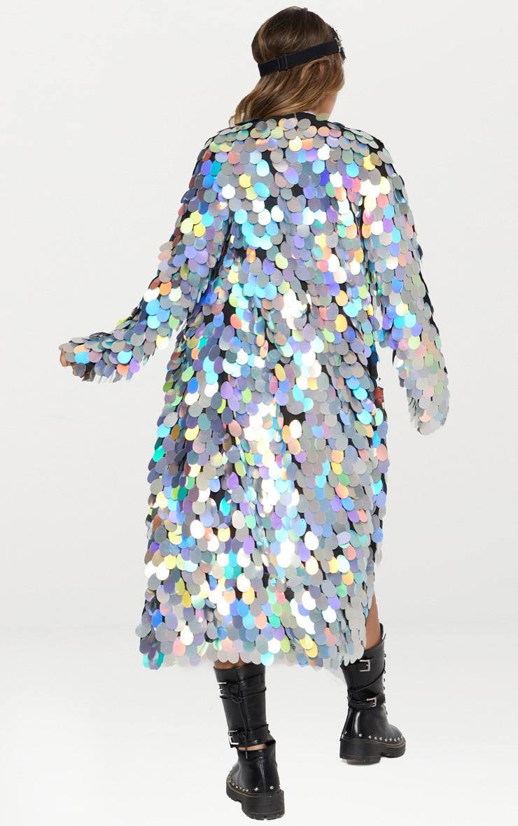 Silver Holographic Sequin Midi Kimono 3