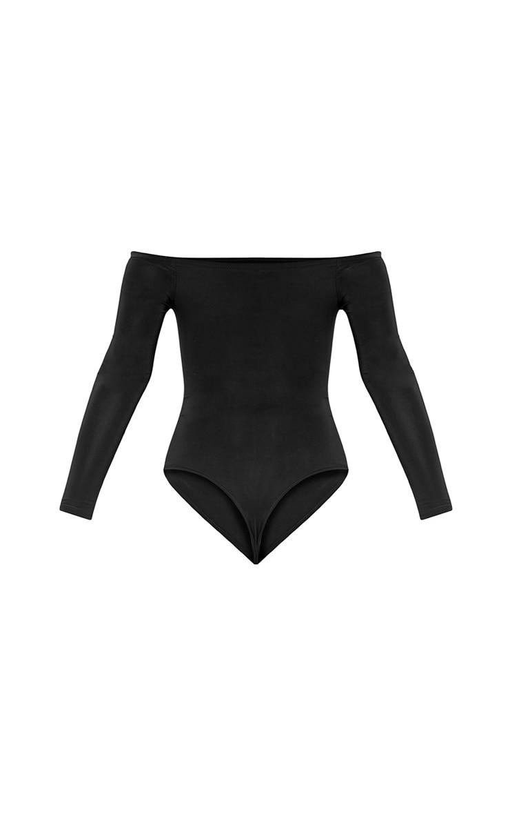 Petite Ashlynn Black Slinky Bardot Bodysuit 4