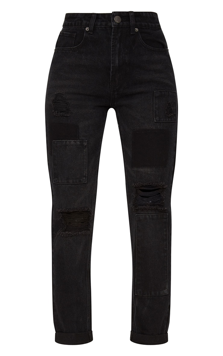 Washed Black Patch Detail Mom Jean 3