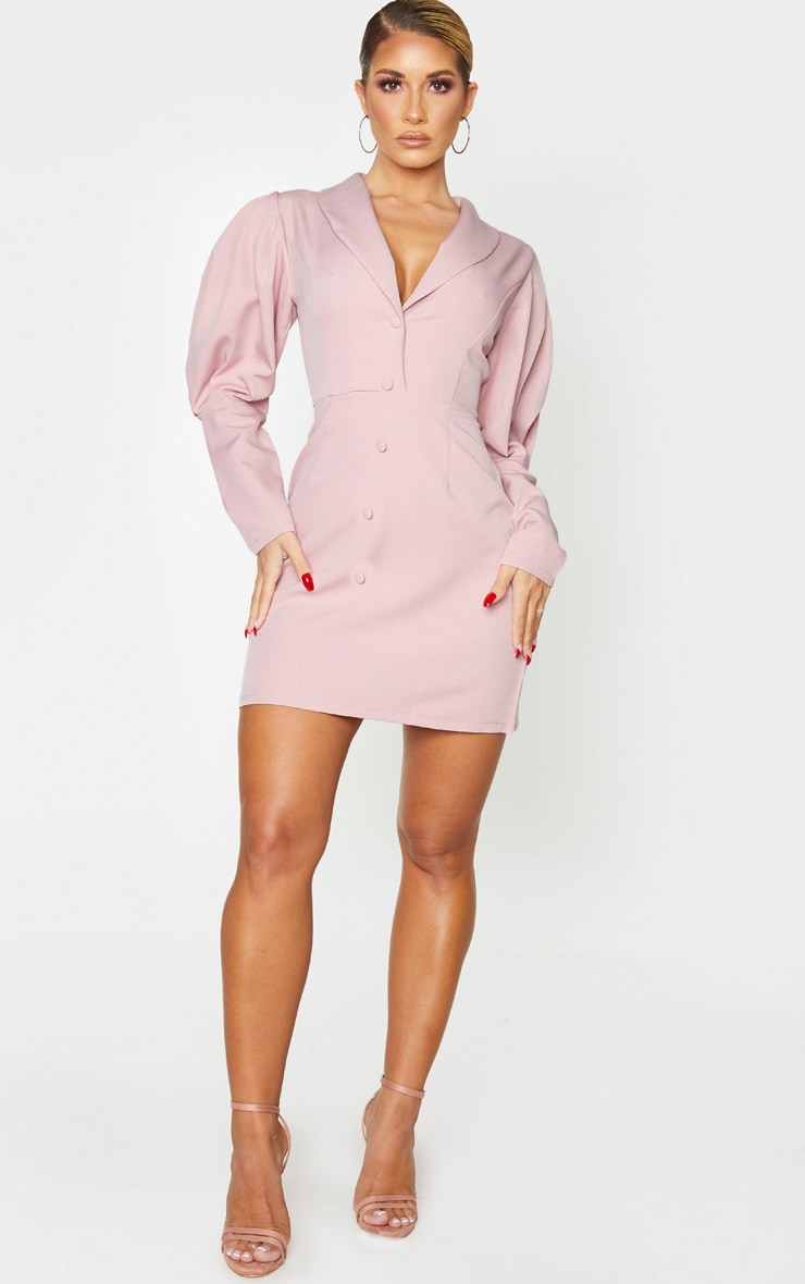 Mauve Puff Sleeve Button Detail Blazer Dress 1