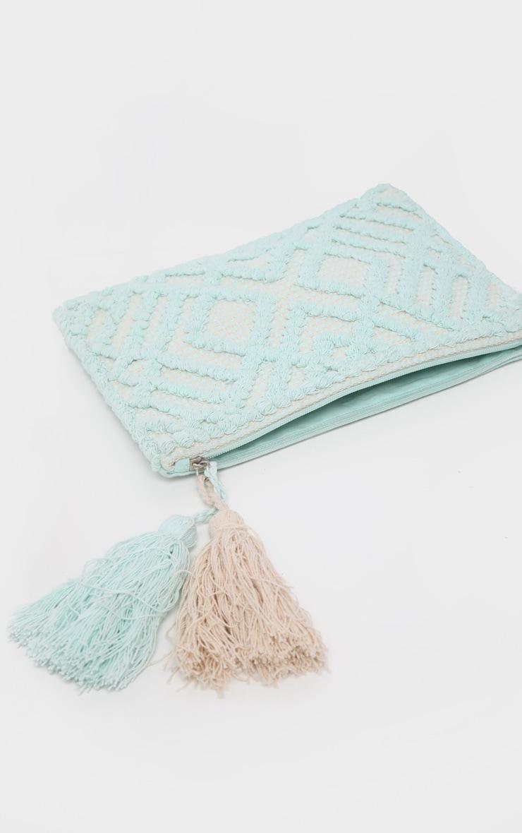 Mint Cotton Tassel Detail Clutch Bag 3