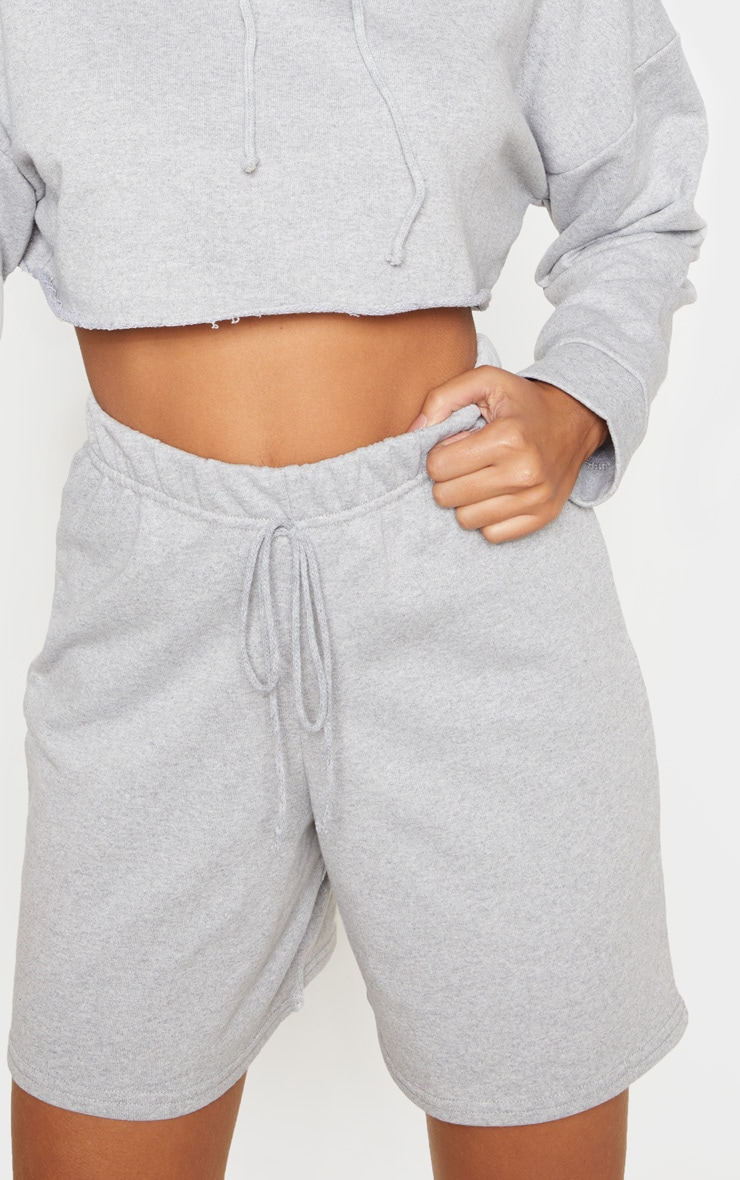 Grey Longline Sweat Shorts 6