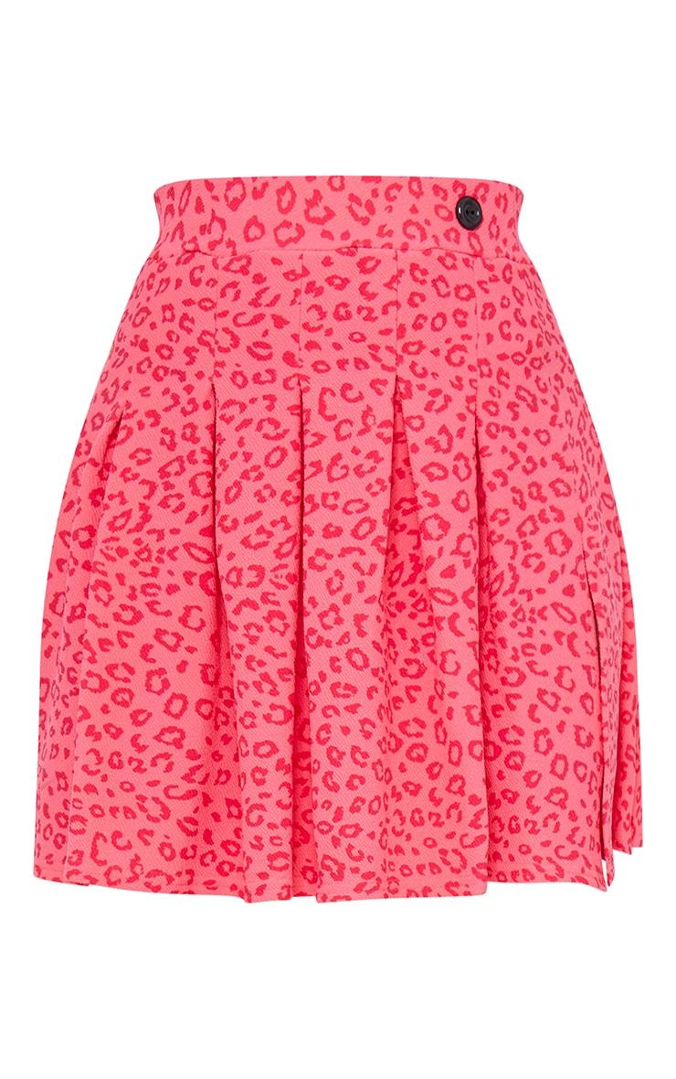Pink Leopard Print Side Split Tennis Skirt 6
