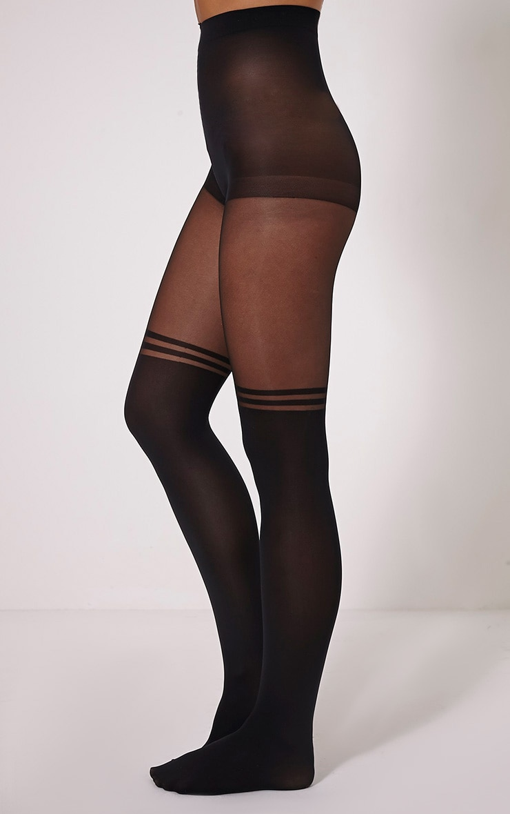 Tanny Black Knee High Style Tights 2