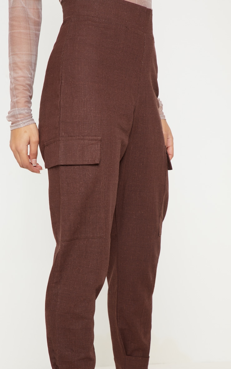 Chocolate Peg Leg Cargo Pocket Trouser 5