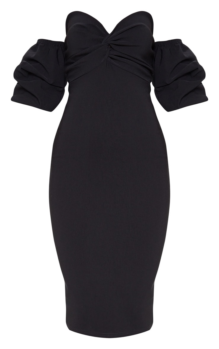 Black Bardot Twist Detail Midi Dress 3