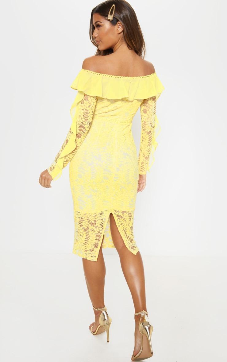Lemon Bardot Lace Frill Sleeve Midi Dress 2