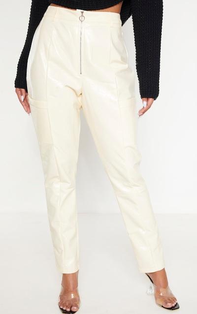 Cream Vinyl Zip Up Straight Leg Trouser