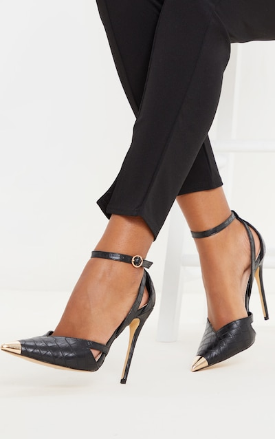 Black Cut Out Heel Metal Toe Court Shoe