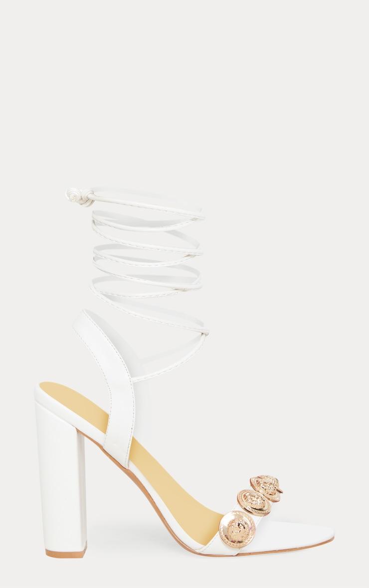 White Coin Studded Leg Tie Block Heel Sandal 3