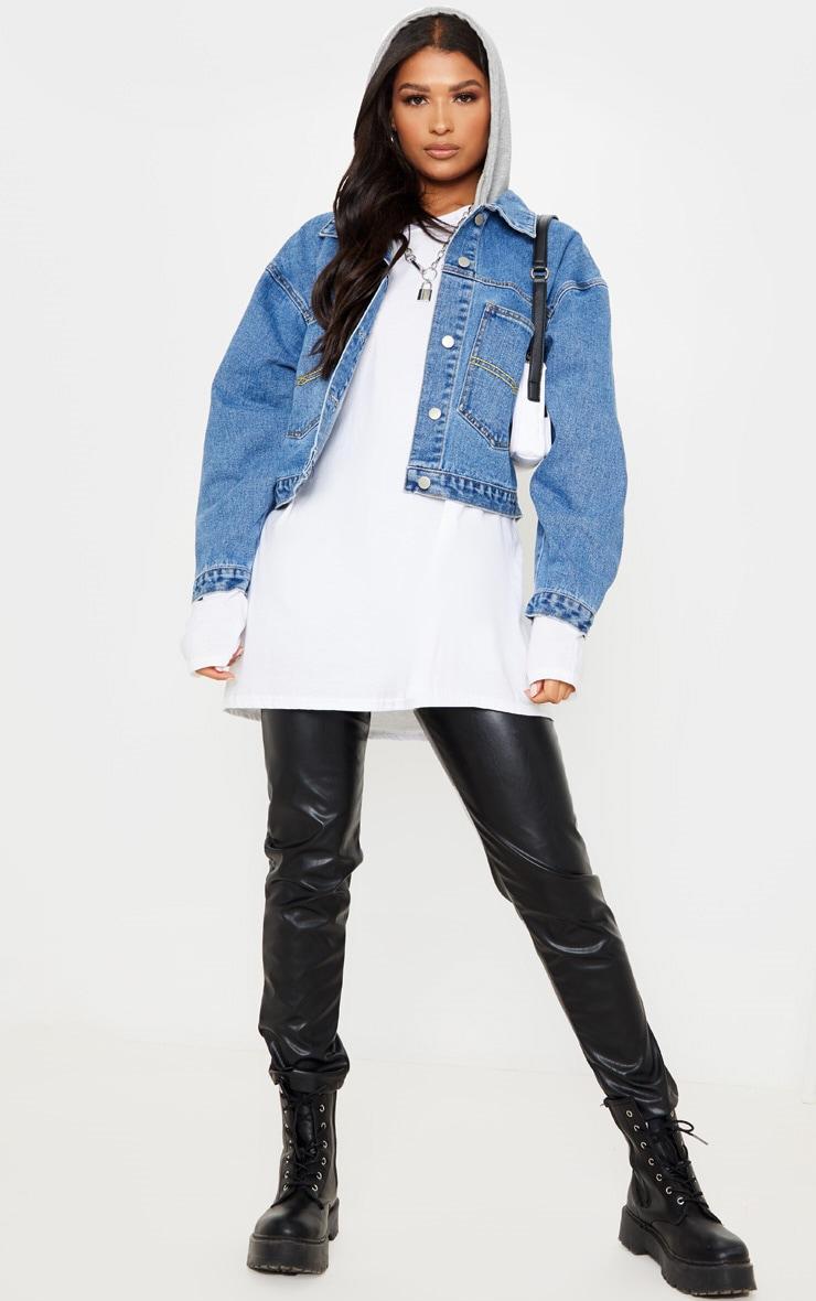 Veste en jean oversize bleu moyennement délavé à capuche 1