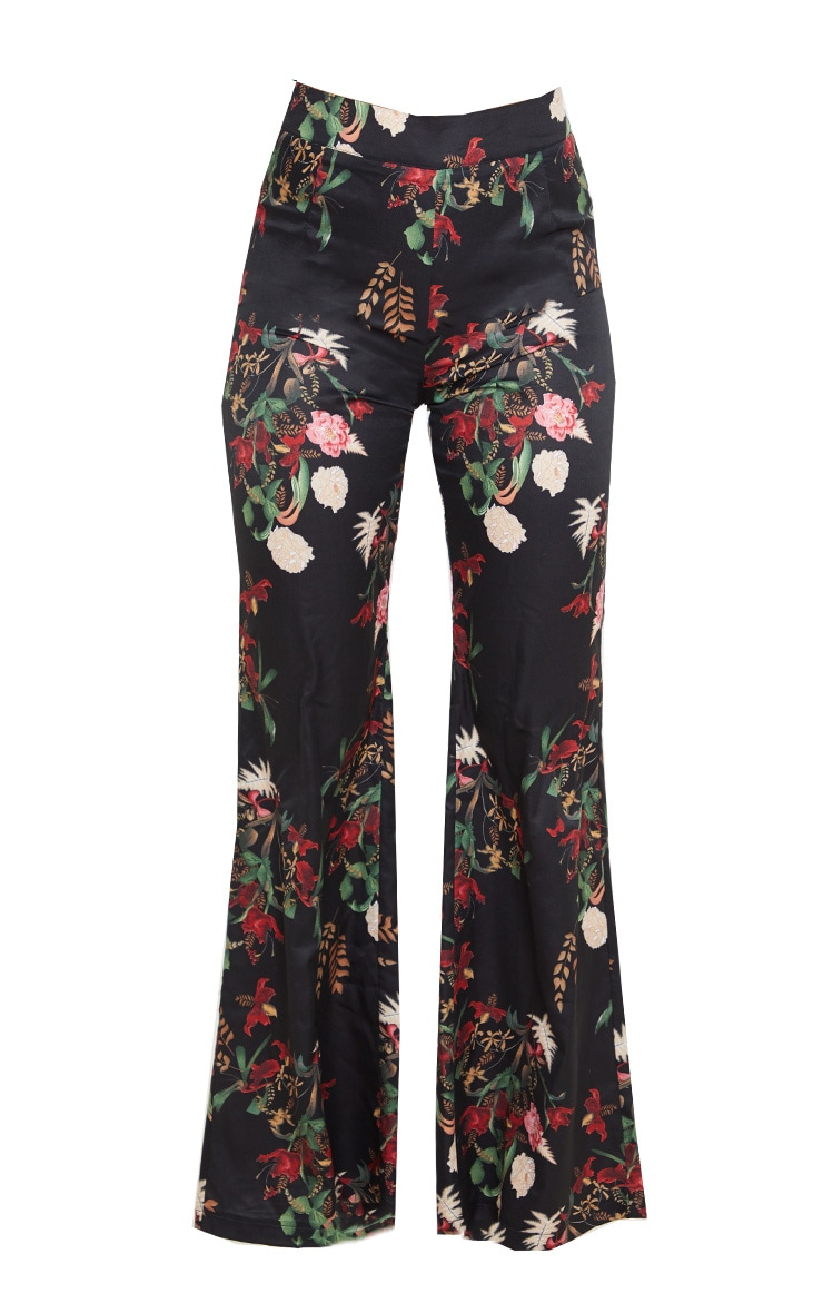 Black Floral Oriental Wide Leg Pants 3