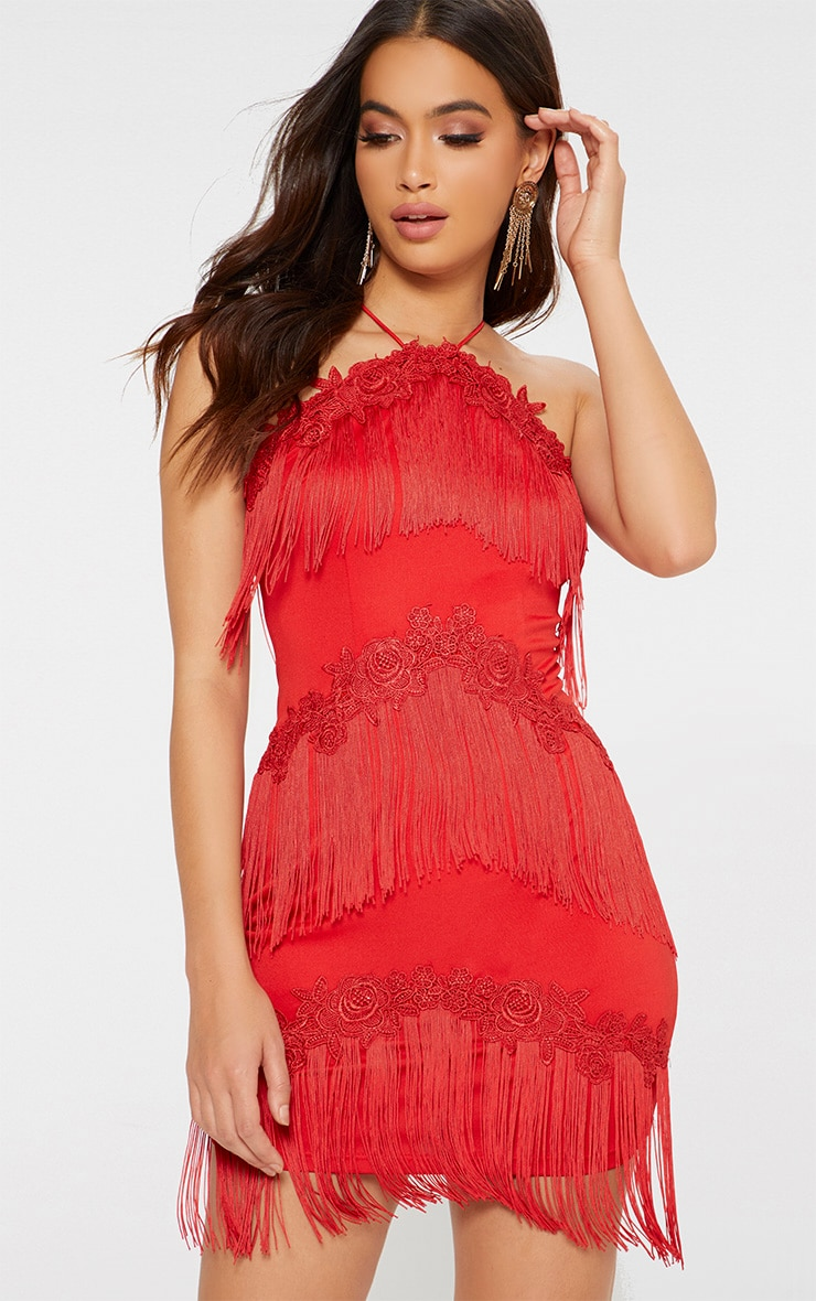 Red Tassel Detail Embroidered Trim Bodycon Dress 1