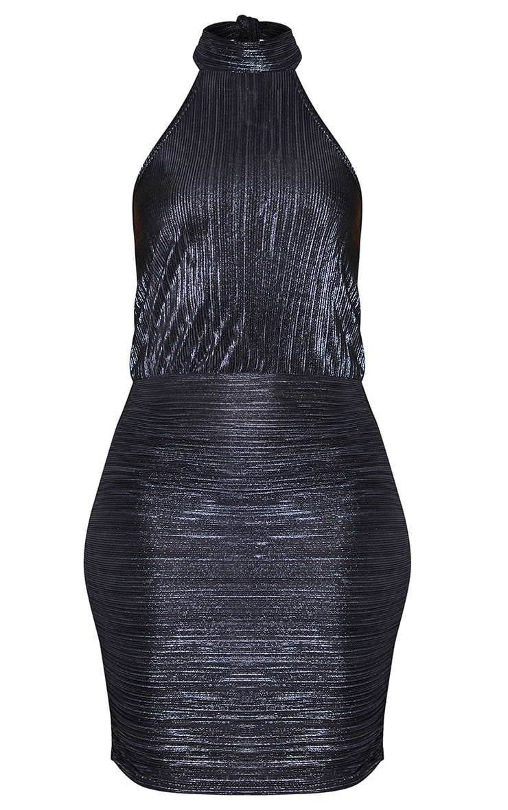 Black Glitter Plisse Halterneck Bodycon Dress 5