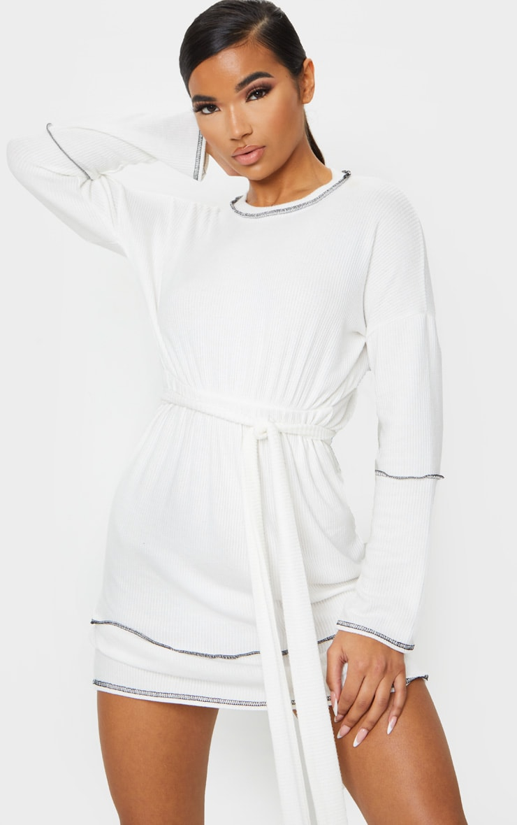 White Brushed Rib Contrast Trim Tie Waist Long Sleeve Shift Dress 1