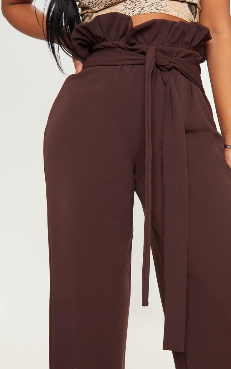 Shape Chocolate Brown High Waist Paperbag Wide Leg Trouser 4