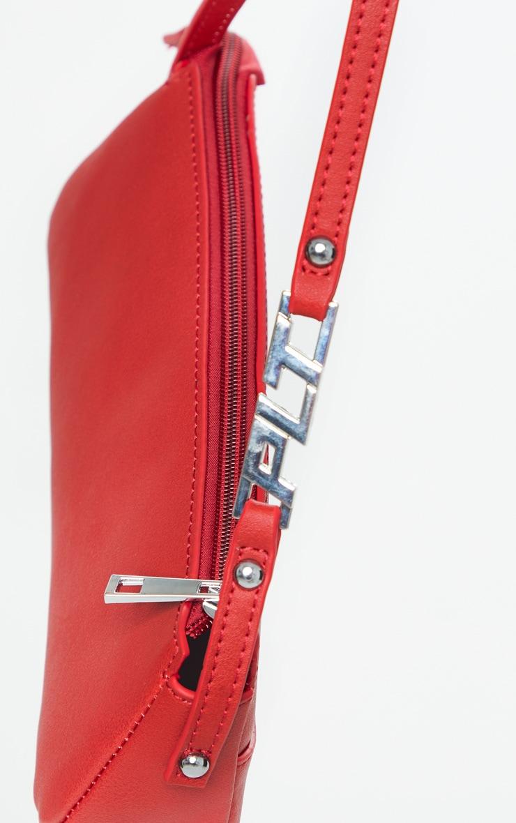 Red PrettyLittleThing Handle PU Baguette Shoulder Bag 4