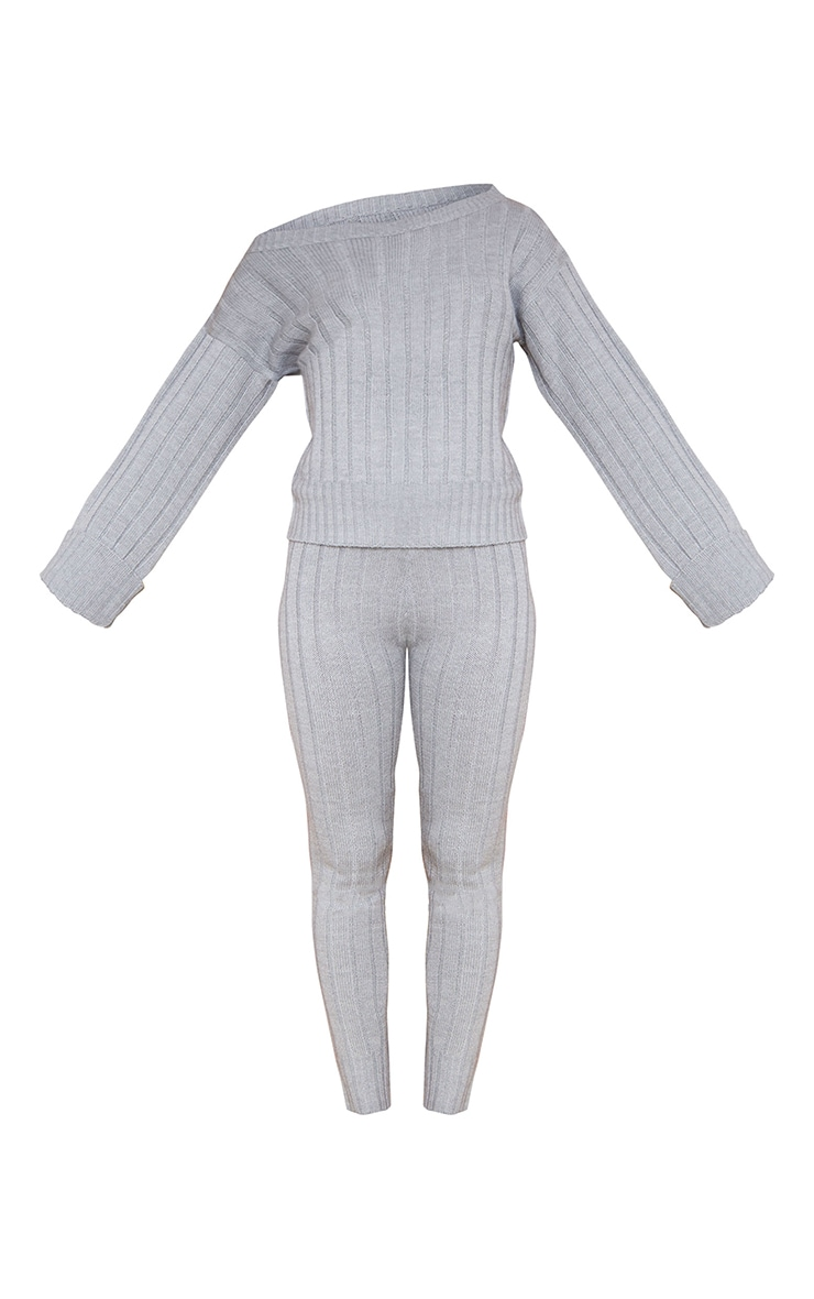 Grey Bardot Sweater And Legging Lounge Set 5