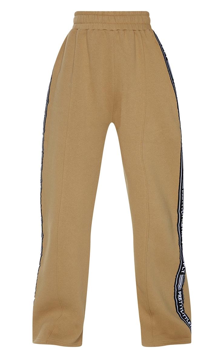 PRETTYLITTLETHING Camel Side Tape Wide Leg Joggers 5