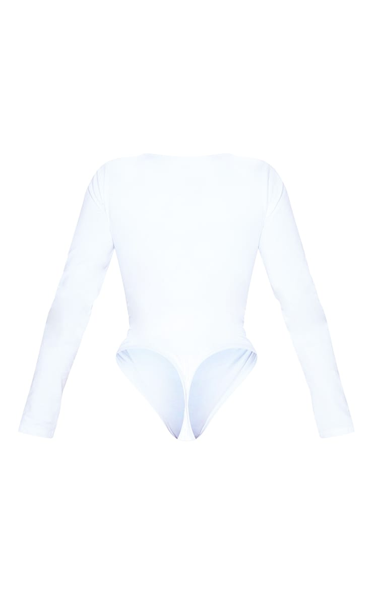 Basic Shape White Cotton Blend Jersey Ruched Long Sleeve Bodysuit 6