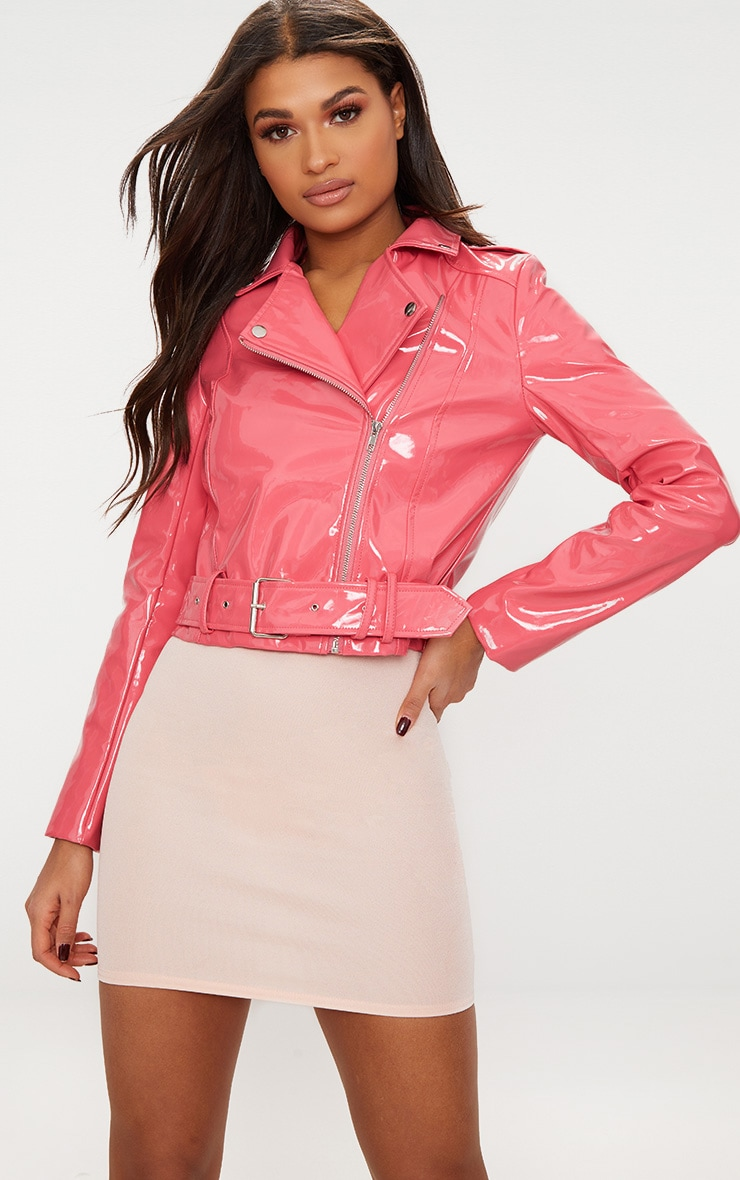 Pink High Shine Vinyl Biker Jacket 1