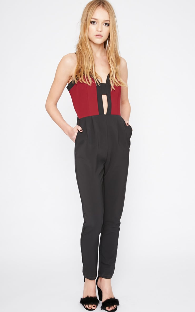 Emely Burgundy Panel Jumpsuit 4
