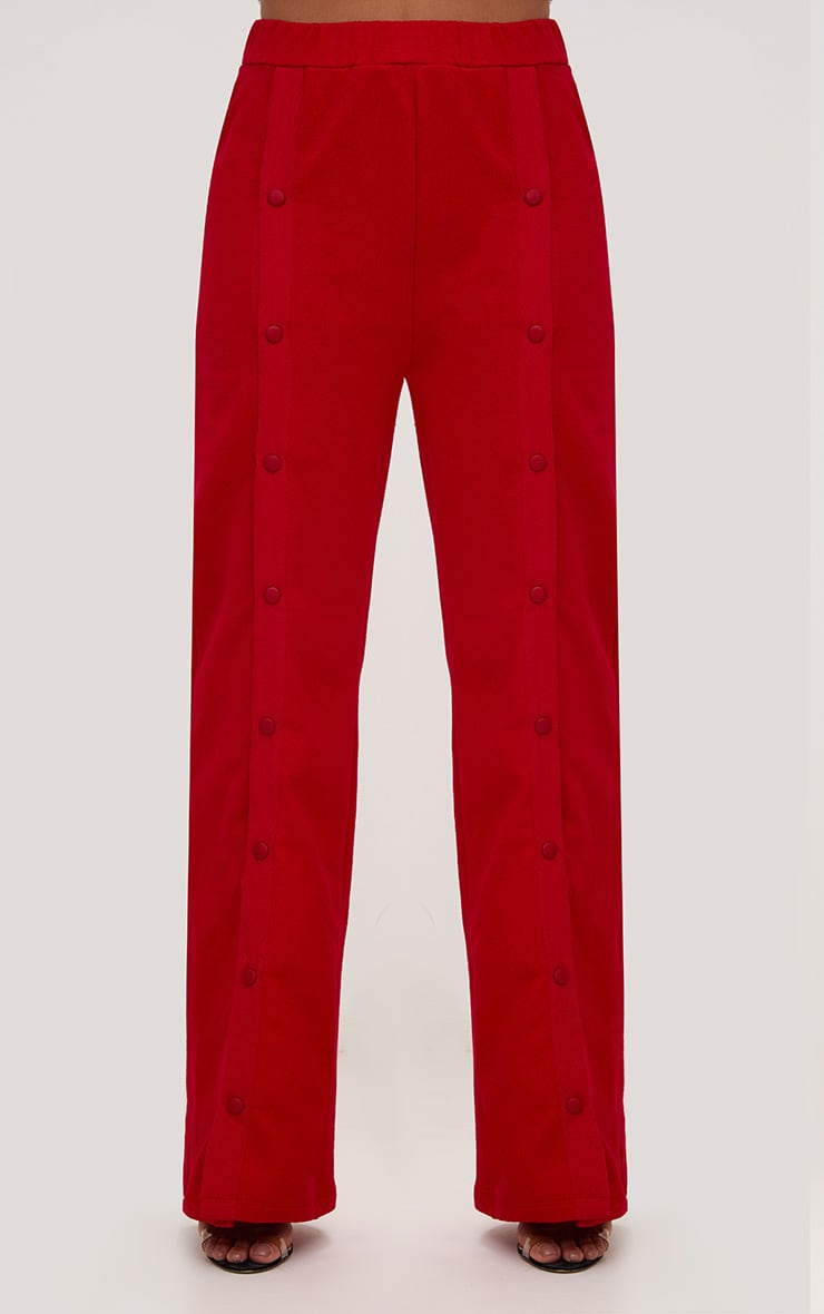 Red Front Popper Wide Leg Joggers 2