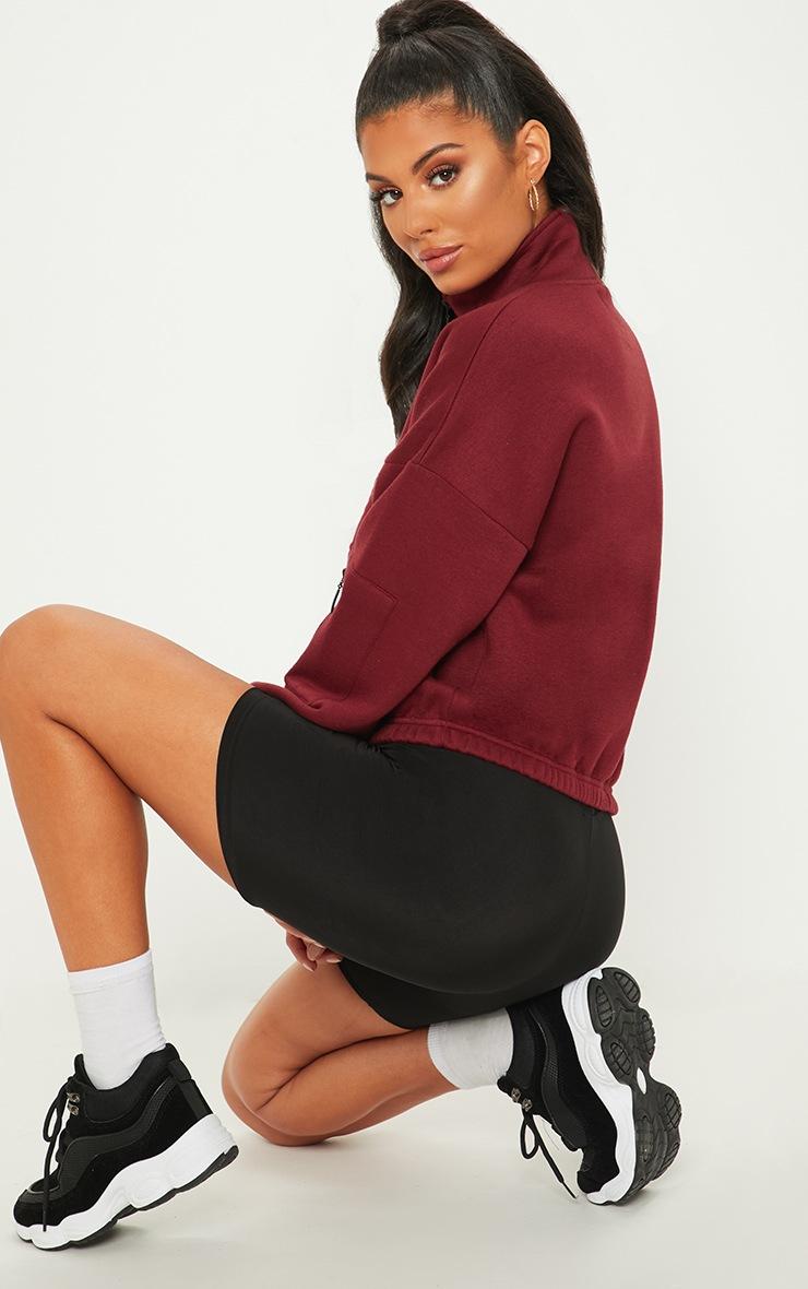 Burgundy Oversized Zip Front Sweater 2