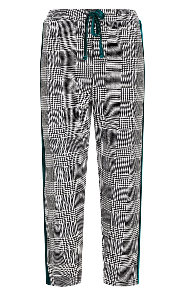 Grey Check Contrast Panel Trousers 3