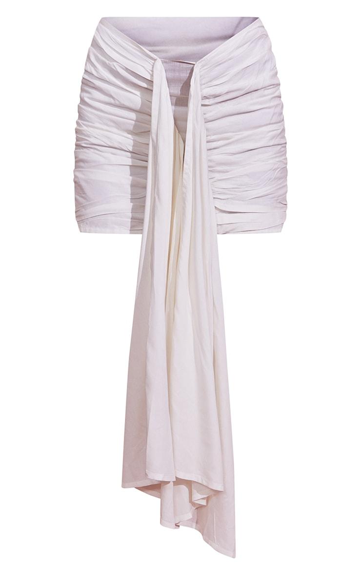 White Ruched Drape Front Mini Skirt 6