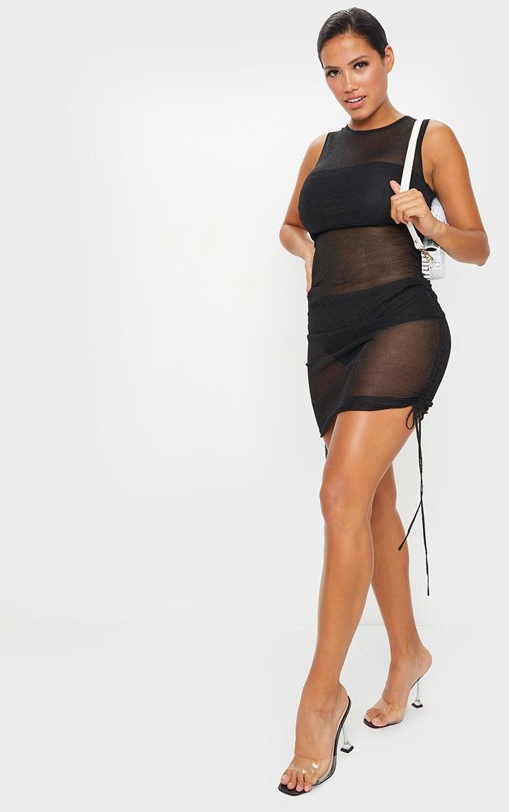 Shape Black Sheer Glitter Ruched Side Bodycon Dress 3