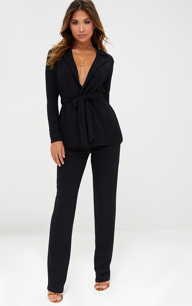 Black Straight Leg Suit Trousers 1