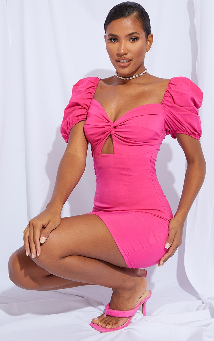 Hot Pink Puff Sleeve Knot Bust Detail Bodycon Dress 3